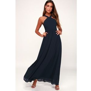 Lulu's Air of Romance Navy Blue Maxi Dress (XS)